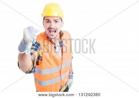 Stressed Constructor Yelling And Standing With Fist Up