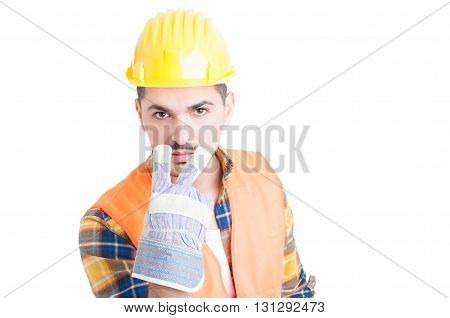 Engineer Doing Watching You Or Pay Attention At Me Gesture