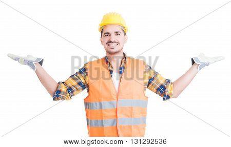Joyful Engineer Or Constructor Making A Balance Gesture
