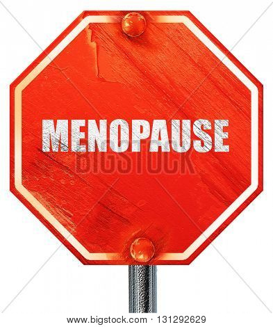 menopause, 3D rendering, a red stop sign