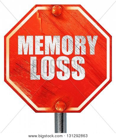 memory loss, 3D rendering, a red stop sign