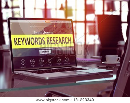 Modern Workplace with Laptop showing Landing Page with Keywords Research Concept. Toned Image with Selective Focus. 3d Rendering.