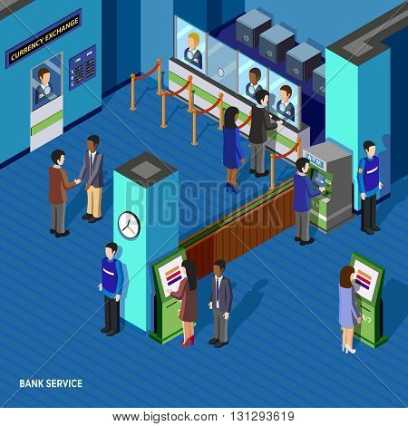 Bank service isometric concept with people inside bank currency exchange window atm and employees vector illustration