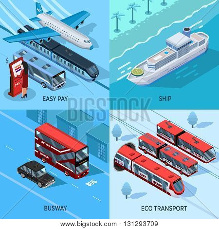 Passenger and public transport isometric 2x2 design concept set of city intercity water and eco transportation vector illustration
