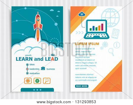 Project Learn And Lead Concepts And Set Of Banners.