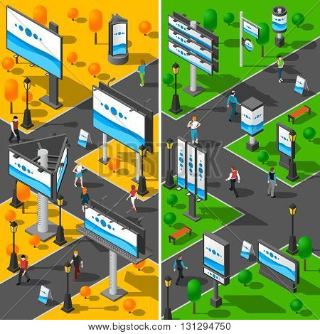 Street Advertising Icons Set. Signboard Isometric Vector Illustration. Advertising Billboards Vertical Banners. Street Billboards Design Set. City Signboards Collection.