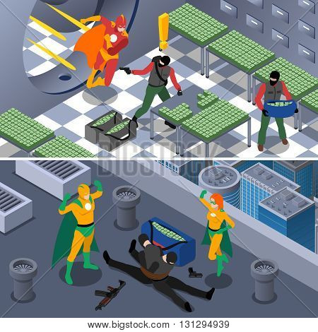 Superhero And Robbery Isometric Concept. Superheroes Horizontal Banners. Superhero Vector Illustration. Superhero And Bank Robbery Set. Superhero Saving Bank Design Symbols. Superhero Elements Collection. Superheroes And Robbery Compositions.