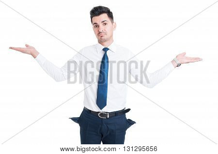 Broke Salesman Showing Empty Pants Pockets