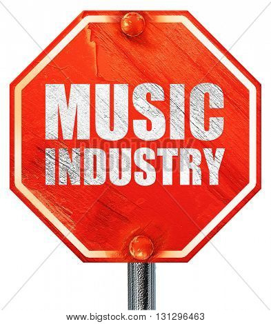 music industry, 3D rendering, a red stop sign