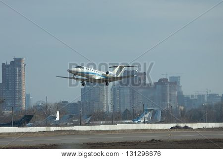 Kiev Ukraine - March 24 2011: Cessna 525B Citation Jet CJ3 is taking off from the airport in the city