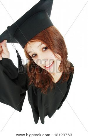 Portrait of a young people in a academic gown. Education background.