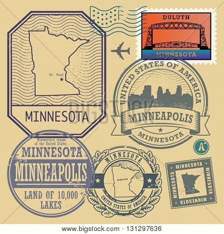 Stamp set with the name and map of Minnesota, United States, vector illustration