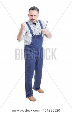Full Body Of Repairman Or Mechanic Showing Both Middle Fingers