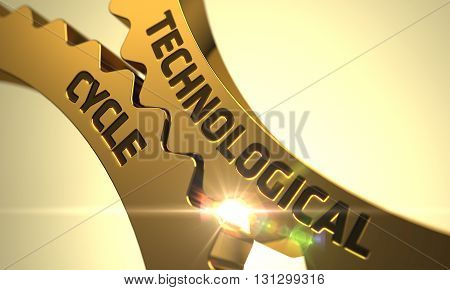 Golden Cog Gears with Technological Cycle Concept. Technological Cycle on Golden Metallic Cogwheels. Technological Cycle - Industrial Design. 3D Render.