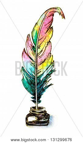 watercolor hand painted illustration of a feather quill in ink bottle