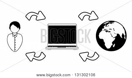 Distance education. Vector illustration. Man, computer and earth