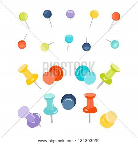 Set of colored push pins on white background. Collection of push pins for maps. Thumbtacks. Pins stationery products. Needles and tacks. Vector illustration.