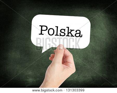 Polska written on a speechbubble