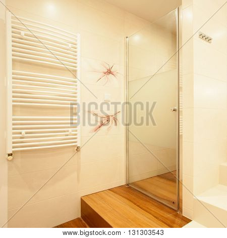 Photo of modern luxury shower in stylish batthroom