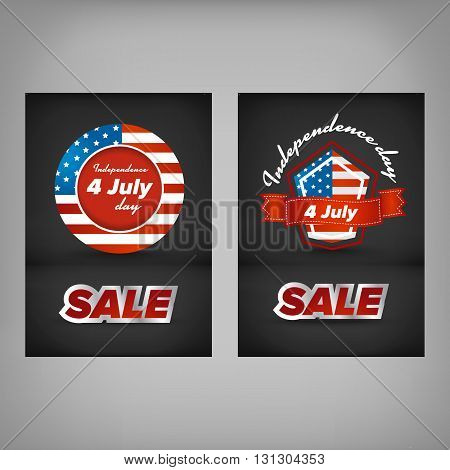 Independence day sale banner design with black background