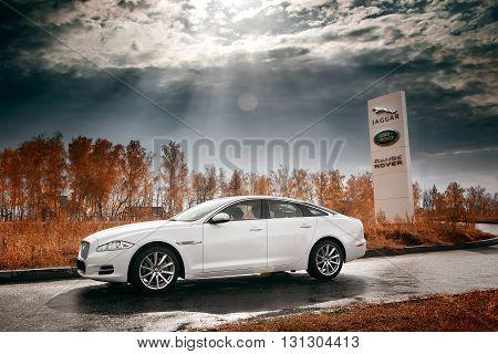 Saratov, Russia - October 16, 2014: Whtie Jaguar XJ car stay on wet asphalt road at daytime