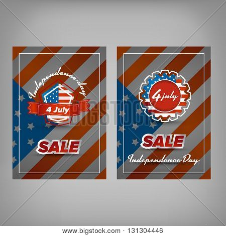 Independence day sale banner design with usa flag background