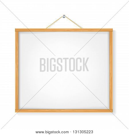white placard with wooden frame hanged on white. vector