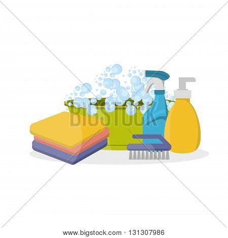 Household supplies and cleaning flat icons set. Tools guidance cleanliness and order house. Cleaning supplies still life household supplies. Household cleaning supplies. Tools of house cleaning.