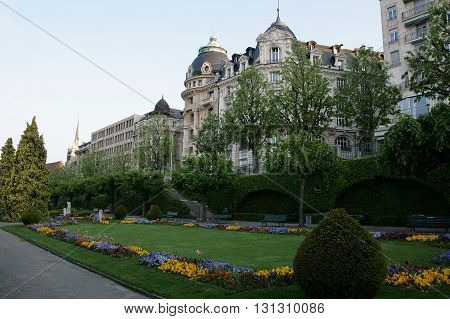Park in the center of Lausanne Switzerland