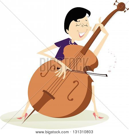 Cellist woman is playing music with the great feeling