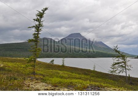 The mountains of lake. The Taimyr Peninsula Putorana plateau Siberia Russia.