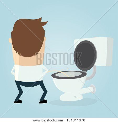 cartoon man peeing on the toilet seat