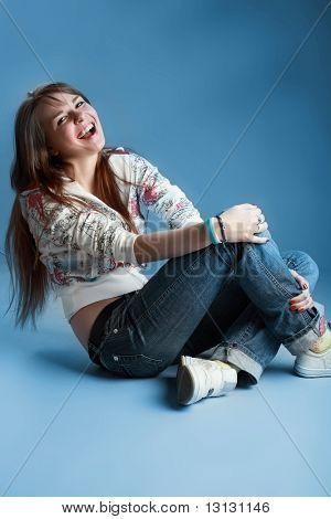 Sensual young girl. Shot in a studio.