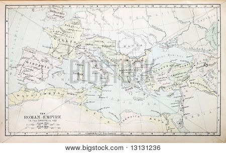 Map of the Roman Empire in the Apostolic age from a nineteenth century Bible poster