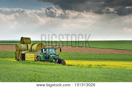 Varna Bulgaria - May 23th 2016: Tractor FENDT 724 Vario. Fendt is a German manufacturer of agricultural tractors machines manufacturing a full line of tractors combine harvesters and balers.