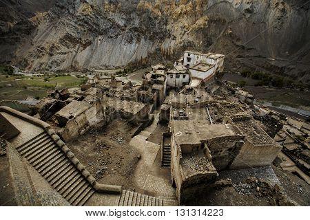 Lamayru Monastery, view of Lamayuru monastery in Ladakh, India. Lamayuru is a Tibetan Buddhist monastery at a height of 3,510 metres.