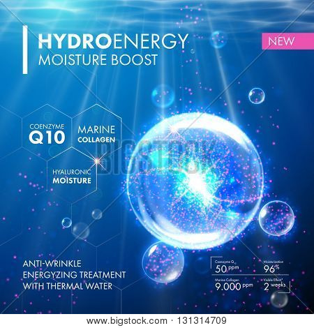 Underwater bubble design for moisturizing collagen design. poster