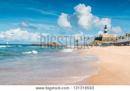 Porto da Barra Beach lighthouse in Salvador Brazil