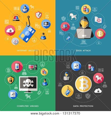Internet security concept with attack of computer viruses data protection phishing spam spy threat isolated vector illustration