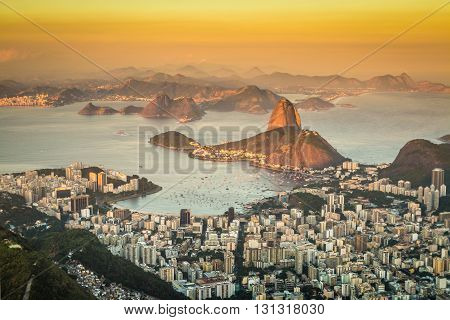 Sunset view of Rio de Janeiro in Brazil