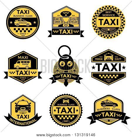 Taxi service black yellow emblems with driver cars minivan key stars checkerboard pattern isolated vector illustration