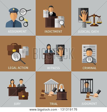 Judicial system colored icon set with descriptions of assignment indictment whitness criminal jury judgment vector illustration