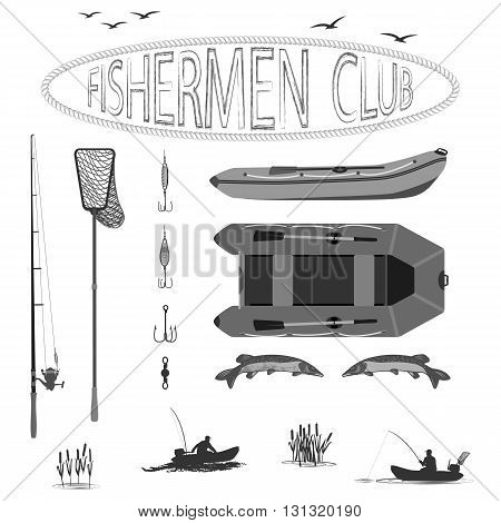 A fisherman in a boat fishing, silhouette. A rubber boat top and side, near Spinning and landing net. fish called Pike.  totally vector illustration