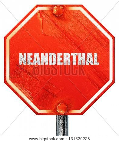 neanderthal, 3D rendering, a red stop sign