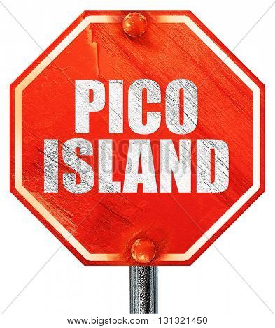 pico island, 3D rendering, a red stop sign
