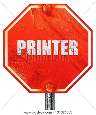 printer, 3D rendering, a red stop sign