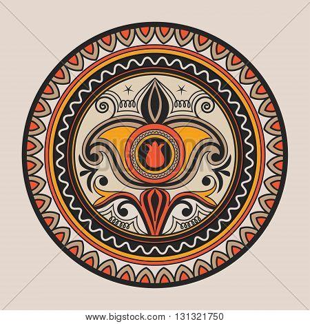 Mandala. Doodle vector. Geometric decorative round plate with ornament. Kyrgyz Kazakh circular abstract pattern. Design element ornaments