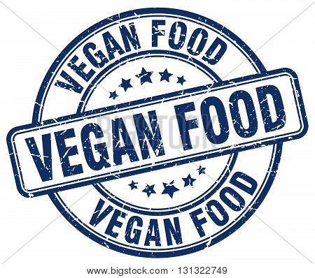Vegan Food Blue Grunge Round Vintage Rubber Stamp.vegan Food Stamp.vegan Food Round Stamp.vegan Food