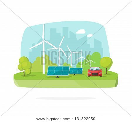 Green energy concept vector illustration, wind energy and solar energy on nature scene, flat cartoon eco energy design