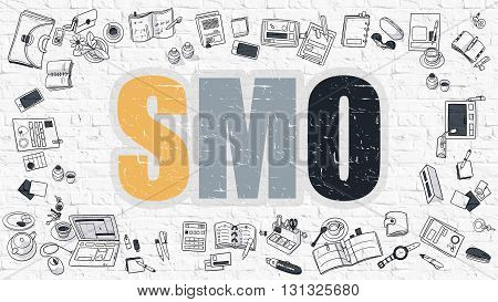 SMO - Social Media Optimization - Concept. Multicolor Inscription on White Brick Wall with Doodle Icons Around. Modern Style Illustration with Doodle Design Icons. SMO on White Brickwall Background.